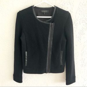 Rag & Bone Leather Trim Sweater Jacket Black S